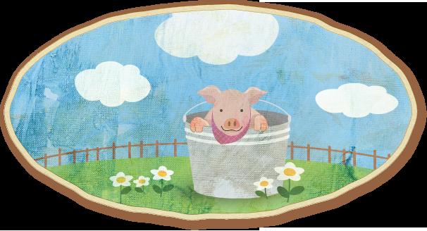 バケツ豚のイラスト