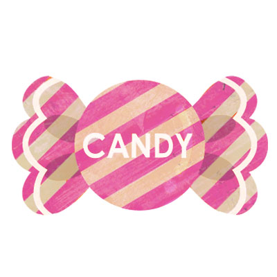 ピンクのストライプがお洒落なキャンディーの無料イラスト