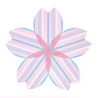 青いストライプの桜の無料イラスト