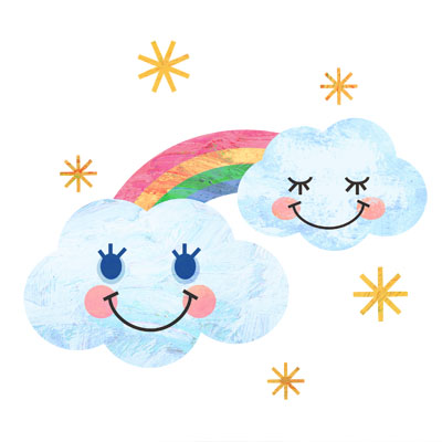 雲と虹の無料イラストです。