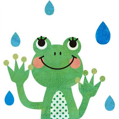 雨とカエルの無料イラストです