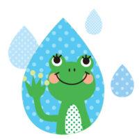 元気なかえるさんを雨のしずくの中に閉じ込めたおしゃれな無料イラストです。