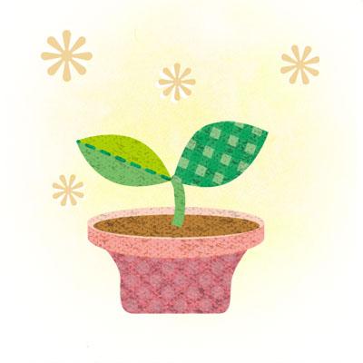 ピンクの鉢の双葉の無料イラスト