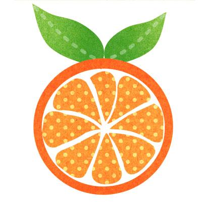スライスしたオレンジのおしゃれな無料イラスト