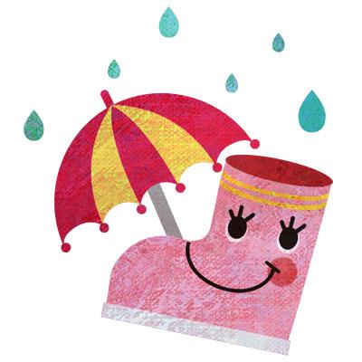 ピンクの長靴と傘のイラストです