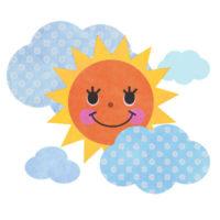 雲の間から、にっこり顔を出す太陽の無料イラストです