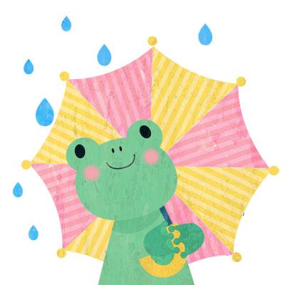 傘をさしたかえるの無料イラスト