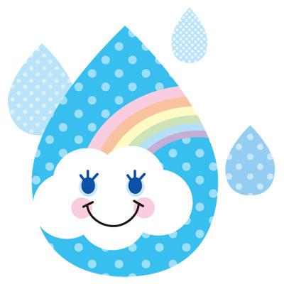 虹と雲を雨のしずくの中に閉じ込めたおしゃれな無料イラストです。