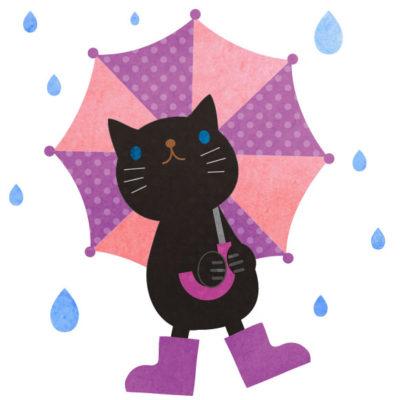 雨の中、水玉の傘をさした黒猫の無料イラストです