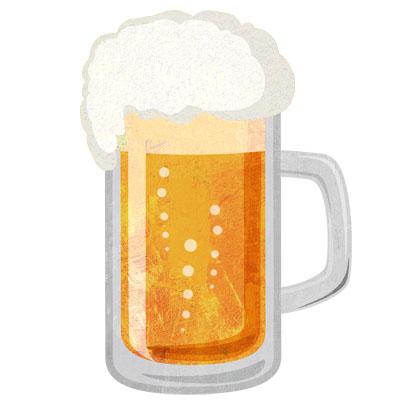 ジョッキの生ビールの無料イラストです。