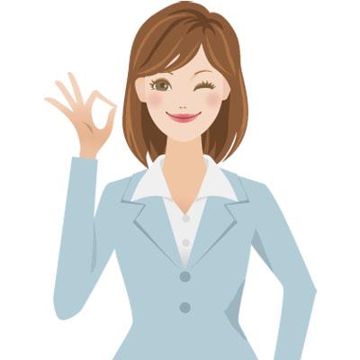 スーツを着てOKサインをしている若い女性の無料イラストです。