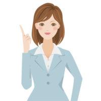 ポイント解説や説明をしている、スーツを着た若い女性の無料イラストです。
