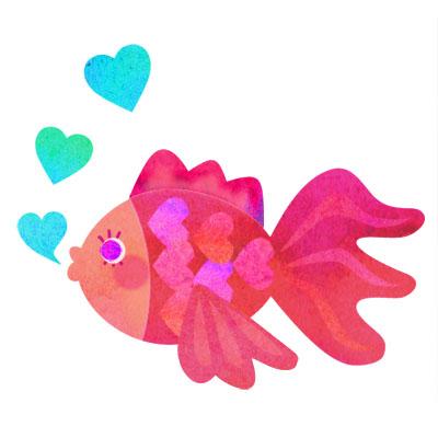 ハートのうろこがキュートなピンクの金魚の無料イラストです。