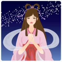 天の川をバックにした七夕を待つ、織姫の無料イラストです。