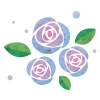 水色のグラデーションがきれいなバラの無料イラストです。