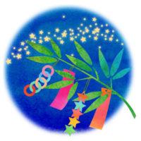 天の川をバックに笹の葉がさらさらの七夕の無料イラストです
