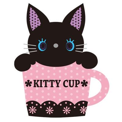 ティーカップに入った、黒い子猫の無料イラスト