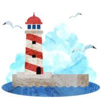 夏の海と灯台の、お洒落な無料イラストです。