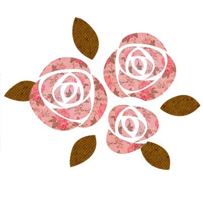 薔薇柄がおしゃれな、シックな色調のばらのイラストです。