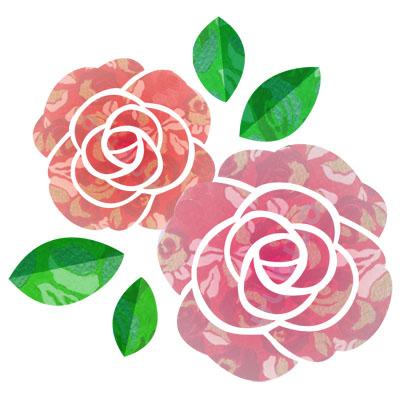 おしゃれな柄物の薔薇の無料イラストです。