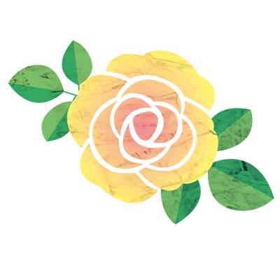 温かみのある黄色が春らしい、ばらの無料イラストです。