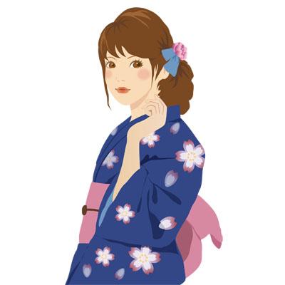 紺色の浴衣を着た女性の無料イラストです。