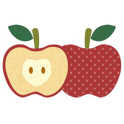 水玉がおしゃれな、赤いりんごの無料イラストです。