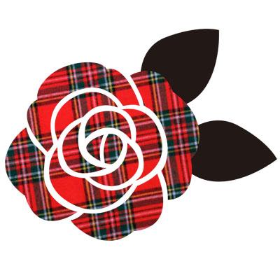 赤いタータンチェックがおしゃれな、バラの無料イラストです。