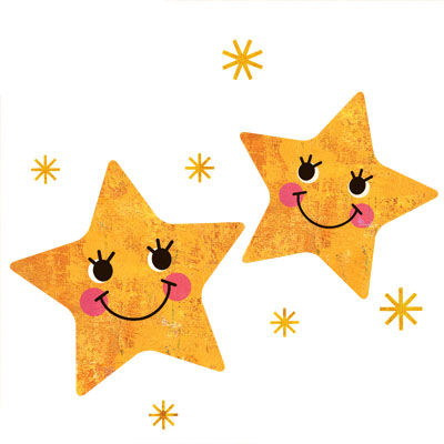 2つ並んだ可愛いお星さまの無料イラストです。