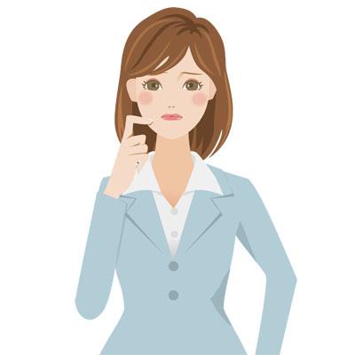 困ったり、悩んでいる表情の、スーツを着た若い女性の無料イラストです。