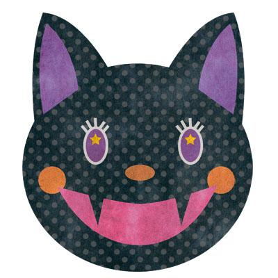 ハロウィンむけの、ちょっと怖めな黒猫の無料イラストです。