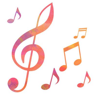 ピンク系のト音記号と音符の無料イラストです。