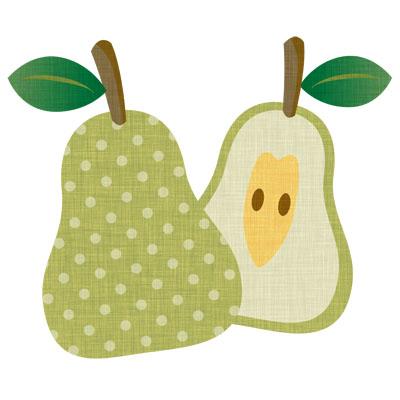 水玉がおしゃれな洋梨の無料イラストです