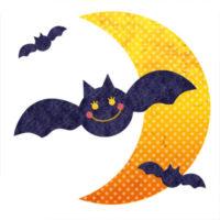 ハロウィンに使えるこうもりと月の無料イラストです。