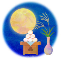 まん丸お月さまとお団子の、お月見の無料イラストです。