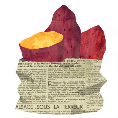 新聞紙に包まれた、おいしそうな焼き芋の無料イラストです。