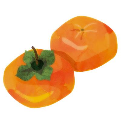 熟した、甘そうな柿の無料イラストです。