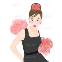 黒いドレスの女性のイラスト