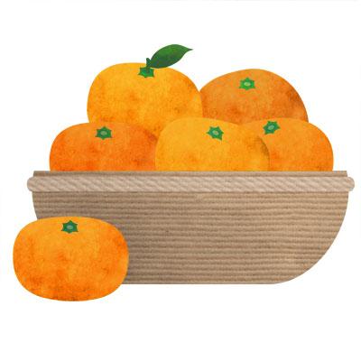 かごに入った山盛りの蜜柑のイラストです