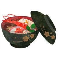 大きな海老も入った豪華なお雑煮のイラストです。