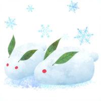 雪で作ったうさぎのイラストです。