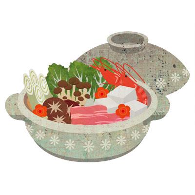 いろいろな具材の入った寄せ鍋のイラストです。