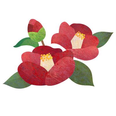 真っ赤な椿の花の無料イラストです。