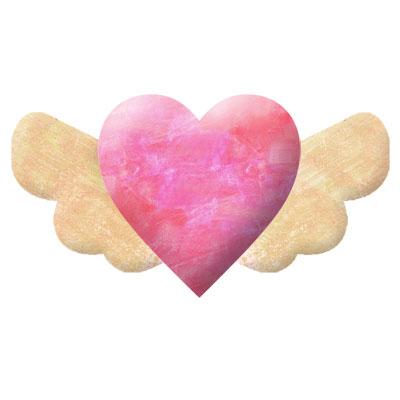 羽のついたピンクのハートのイラストです