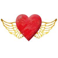 ゴールドの羽がついた、おしゃれな赤いハートのイラストです。