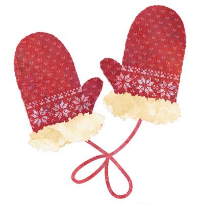 毛糸の真っ赤な手袋のイラストです