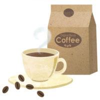 コーヒー豆とホットコーヒーのイラストです。