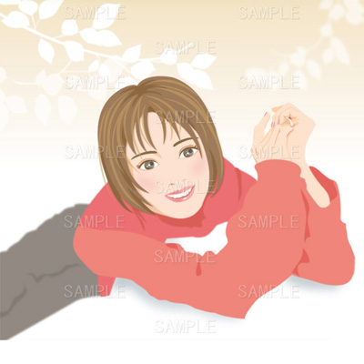 赤いセーターの女性のイラスト
