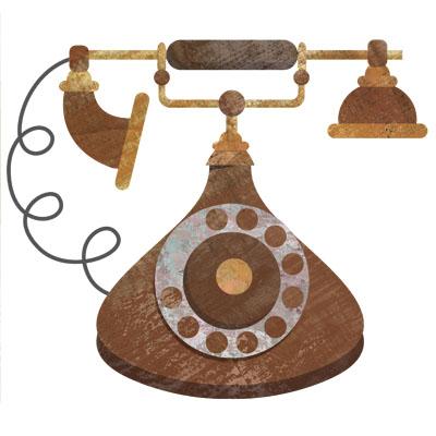 アンティークなダイヤル式の電話のイラストです。