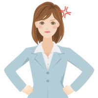 腰に手をあてて怒っている、スーツを着た若い女性の無料イラストです。